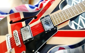 macro, guitar, strings, flag, electric guitar, union jack