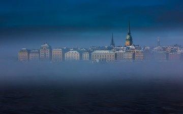 небо, море, туман, башня, дома, швеция, стокгольм