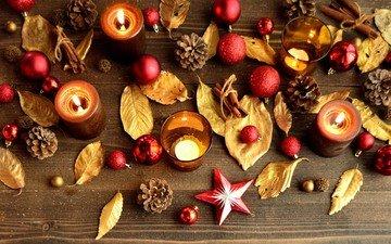 свечи, новый год, листья, украшения, огонь, рождество, шишки, декор