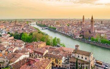 города, панорама, город, италия, путешествия, европа, взляд, верона, cityscape