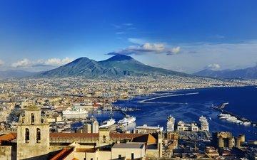 города, панорама, город, италия, путешествия, европа, взляд, неаполь, берег моря, cityscape