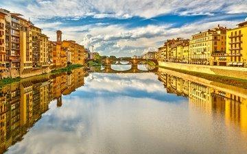 река, города, панорама, мост, город, италия, путешествия, флоренция, европа, взляд, арно, cityscape, ponte vecchio, река арно, старый мост, понте веккьо