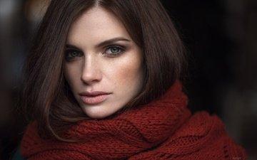 портрет, взгляд, модель, лицо, милая, макияж, веснушки, шарф, голубоглазая, вика, максим гусельников, виктория колодько