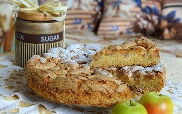 яблоки, сахар, выпечка, пирог, кулич