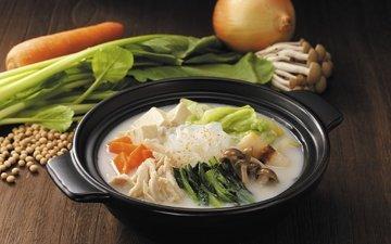 зелень, фон, еда, грибы, овощи, суп