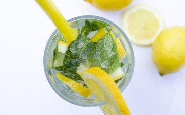 мята, макро, напиток, фрукты, лёд, лимон, лайм, коктейль, стакан, алкоголь, lukas