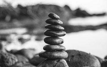природа, камни, чёрно-белое, башня, камень, milada vigerova