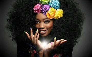 flowers, girl, look, fantasy, fairy, hair, face, magic, ministajazz