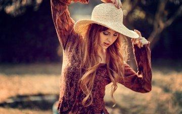 девушка, настроение, поза, рыжая, волосы, руки, шляпа, рыжеволосая, julia wendt