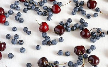 background, the view from the top, cherry, berries, blueberries, tablecloth, vladimir miloserdov