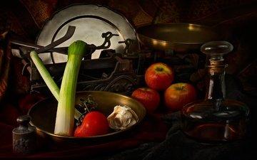 зелень, фрукты, яблоки, лук, весы, овощи, томат, чеснок