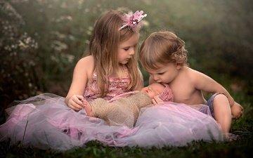 трава, природа, дети, девочка, мальчик, малыши, младенец, чувства