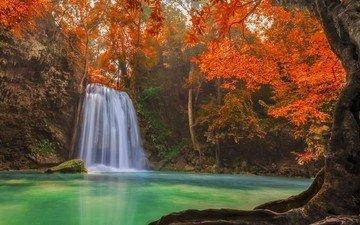 деревья, озеро, лес, водопад, осень, тайланд, тропики, джунгли