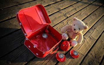 bear, board, the game, toys, dishes, plush, suitcase