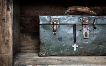 macro, background, suitcase, cross