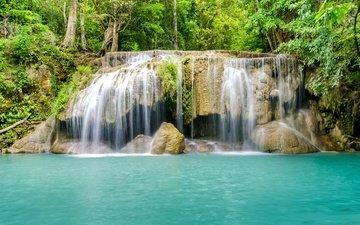 река, лес, водопад, голубая, джунгли, ландшафт, красива, тропическая