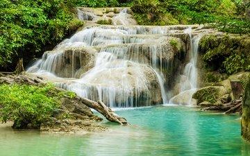 река, лес, водопад, джунгли, ландшафт, красива, тропическая