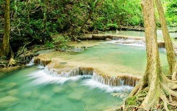 река, лес, водопад, джунгли, ландшафт, тропическая