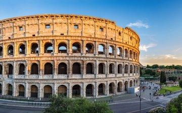 города, панорама, город, италия, путешествия, европа, колизей, рим, взляд