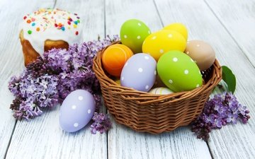 flowers, easter, lilac, cakes, glaze, cake, the painted eggs