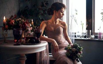 девушка, платье, поза, портрет, плечи, букет, лицо, столик, maks кузин, кристина золотарева