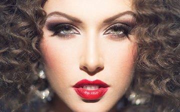 девушка, взгляд, волосы, губы, лицо, модел