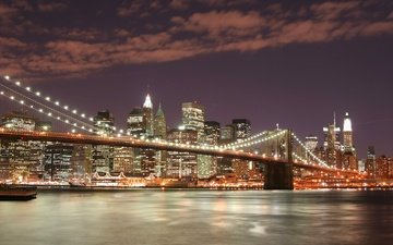 ночь, огни, мост, нью-йорк, бруклинский мост
