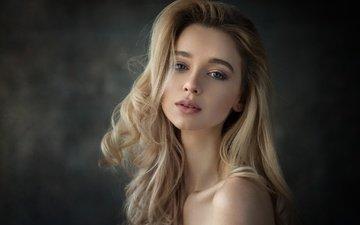 девушка, блондинка, портрет, взгляд, фотограф, анна, dennis drozhzhin