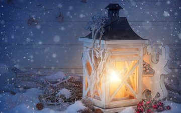 light, snow, new year, deer, toy, lantern, candle, flashlight