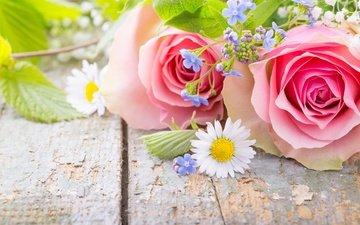 розы, лепестки, ромашки, букет, незабудки, цветы