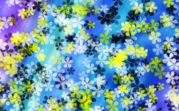 цветы, абстракция, фон, белые, желтые