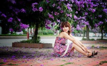 цветы, девушка, платье, лето, ноги, азиатка, сарафан