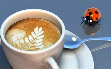 insect, pattern, coffee, ladybug, cup, spoon, cappuccino, foam