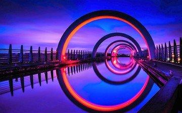 свет, ночь, архитектура, шотландия, шлюз, фолкеркское колесо