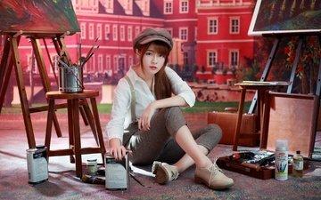девушка, краски, азиатка, кисти, художница