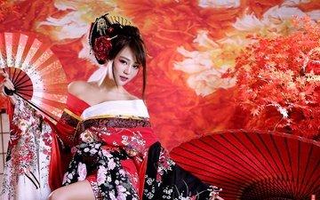 девушка, кимоно, азиатка, гейша, веер