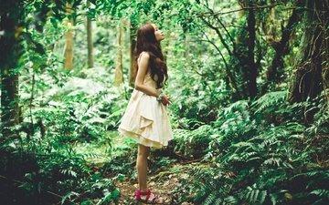 лес, девушка, азиатка