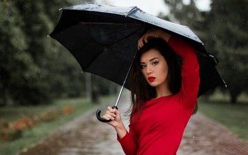 девушка, брюнетка, модель, грудь, зонт, макияж, красное платье, nastya_gepp, девушка с зонтом