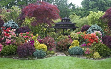 природа, дизайн, кусты, пагода, англия, ландшафт, рододендрон, сады