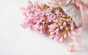 цветы, букет, розовые, нежность, лента, гиацинт