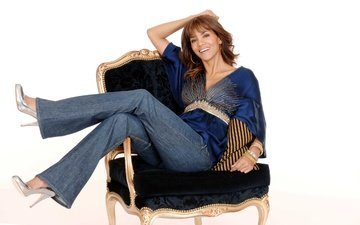 girl, smile, look, jeans, hair, chair, actress, halle berry, american