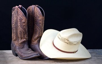 leather, white, hat, boots, cowboy