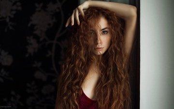 фон, портрет, взгляд, рыжая, модель, лицо, кареглазая, длинноволосая, alexey slesarev