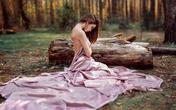 лес, платье, поза, модель, плечи, бревно, шатенка, alexey slesarev, анна серегина