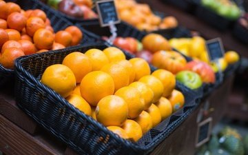 рынок, фрукты, апельсины, мандарины, цитрусы