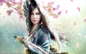 арт, девушка, меч, аниме, сакура, самурай