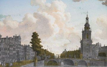 картина, серебро, золото, нидерланды, амстердам, голландия, башня jan roodenpoortstoren в амстердаме, jonas zeuner, роспись по стеклу