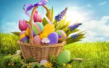 tulips, easter, eggs, holiday, basket, bow, sunlight