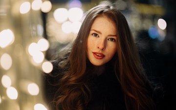 девушка, улыбка, портрет, взгляд, блики, рыжая, модель, макияж, помада, огоньки, шуба, веснушки, katya, екатерина воронина