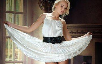 девушка, платье, блондинка, модель, белое платье, talia cherry